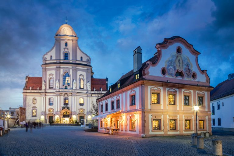 Old town of Alttting with Basilika St. Anna, Bavaria, Germany