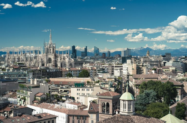 Milano, 2016 panoramic skyline with clear sky and Italian Alps